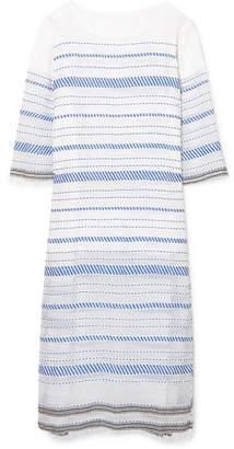 Lemlem Tiki Embroidered Cotton-blend Gauze Midi Dress - Azure