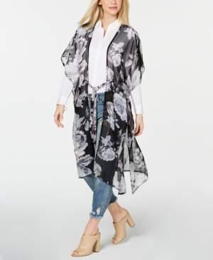 Betsey Johnson Steve Madden Watercolor Flower-Print Drawstring Kimono Scarf
