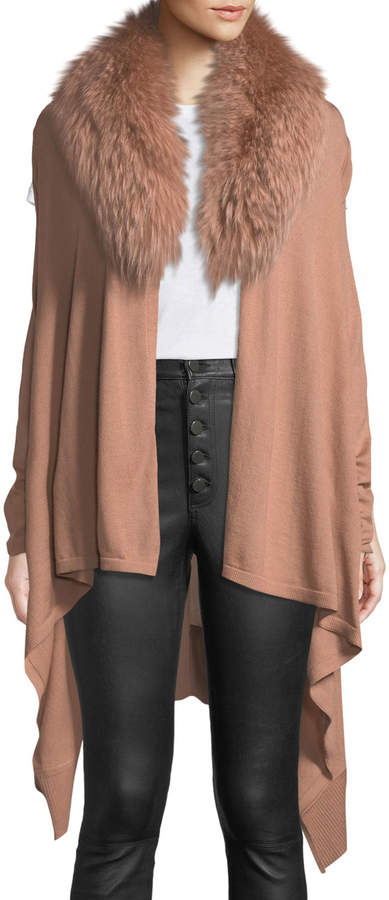 Alice + Olivia Izzy Wool-Cashmere Duster Cardigan w/ Fur Collar