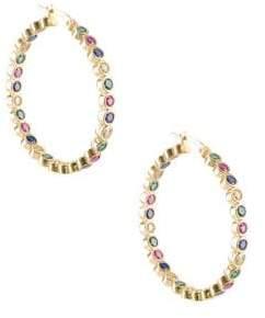 Multi-Colored Crystal Hoop Earrings