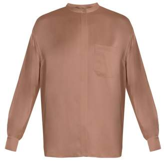 Vince Long Sleeved Silk Satin Blouse - Womens - Light Pink
