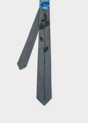 Paul Smith Men's Slate Grey Rose Jacquard Narrow Silk Tie