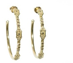 Armenta Small Scroll Hoops with Champagne Diamonds - 18 Karat Gold