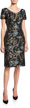 Zac Posen Cap-Sleeve Floral Jacquard Sheath Dress