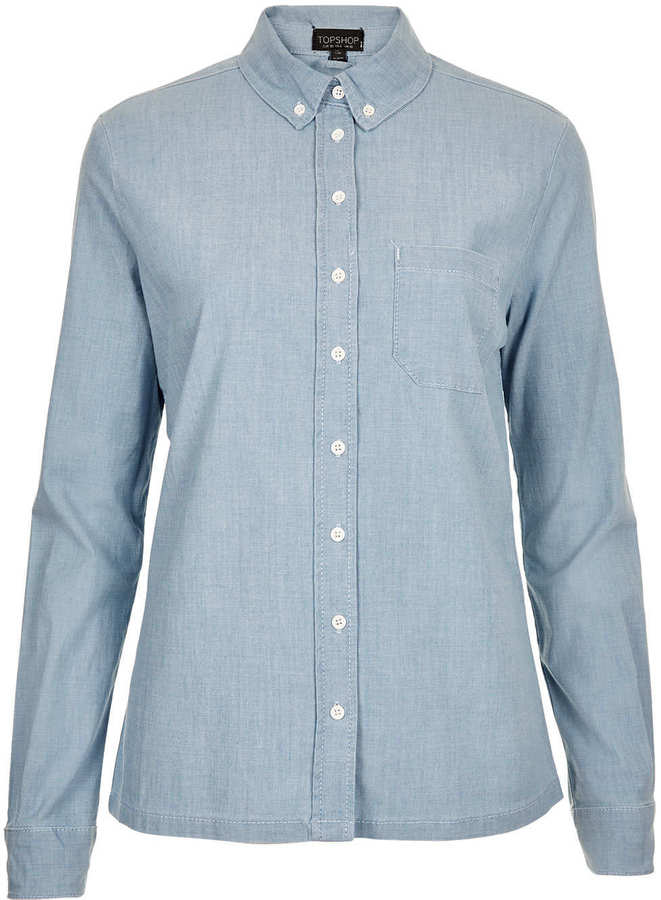 MOTO Blue Oxford Denim Shirt
