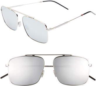 Christian Dior 58mm Mirrored Navigator Sunglasses