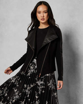 Ted Baker SEEARI Leather detail boiled wool jacket