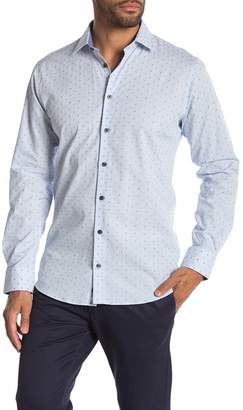 14th & Union Alpha Stripe & Swiss Dot Trim Fit Shirt