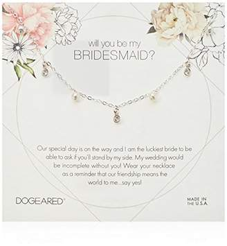 Dogeared Will You Be My Bridesmaid Flower Card Danggling Pearl Chain Necklace