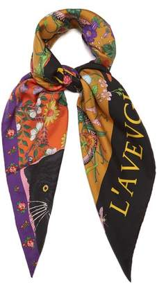 Gucci Patchwork Print Silk Twill Scarf - Womens - Multi