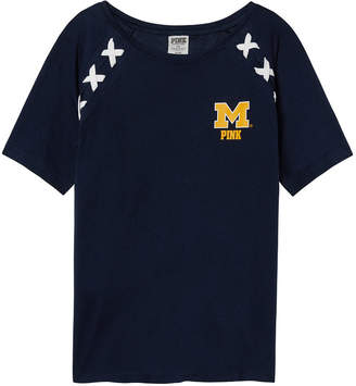 PINK University of Michigan Lace-Up Raglan Sleeve Tee