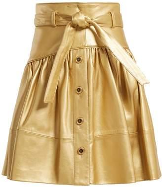 Miu Miu High-rise leather mini skirt