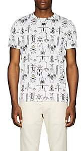 Fendi Men's Bug-Print Cotton T-Shirt - White