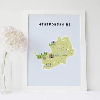 Pepper Pot Studios Map Of Hertfordshire Print