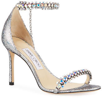 Jimmy Choo Shiloh Holographic Leather Sandals