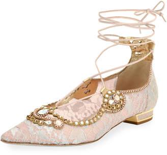 Rene Caovilla Embellished Lace Ankle-Tie Flat, Pink