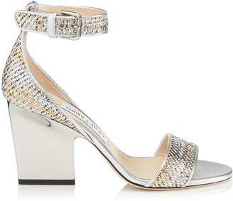 Jimmy Choo EDINA 85 Silver Mix Woven Metallic Fabric Wedges