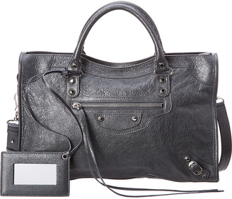 Balenciaga Giant 12 Metallic City Leather Shoulder Bag