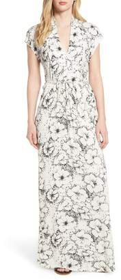Lucky Brand Floral Ribbed Maxi Dress