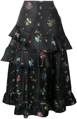 Preen by Thornton Bregazzi frilled floral printed skirt