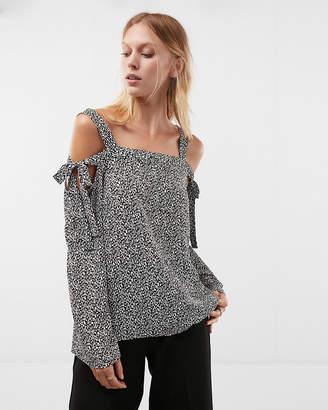 Express Printed Cold Shoulder Shirt