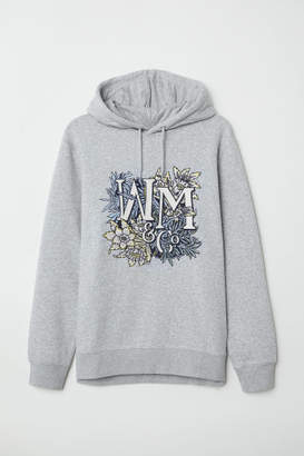 H&M Hooded Sweatshirt with Motif - Gray