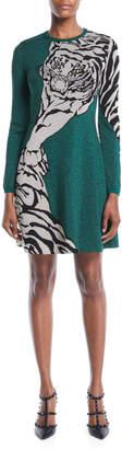 Valentino Long-Sleeve Tiger-Print Metallic Knit A-Line Dress