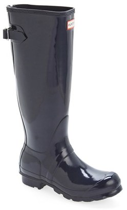 Women's Hunter Adjustable Back Gloss Rain Boot $160 thestylecure.com
