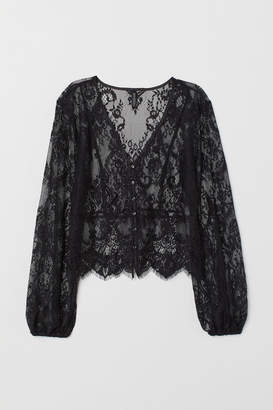 H&M V-neck Lace Blouse - Black