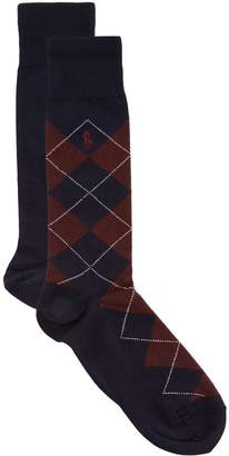 Ralph Lauren Checked and Solid Socks (Pack of 2)