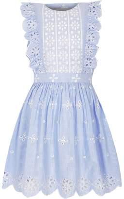 River Island Girls light Blue stripe broderie frill dress