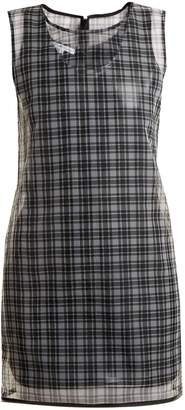 Helmut Lang Round-neck checked semi-sheer dress
