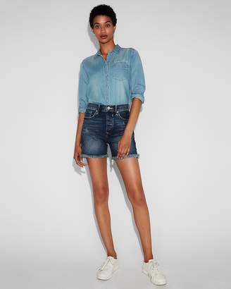Express High Waisted Frayed Original Denim Midi Shorts