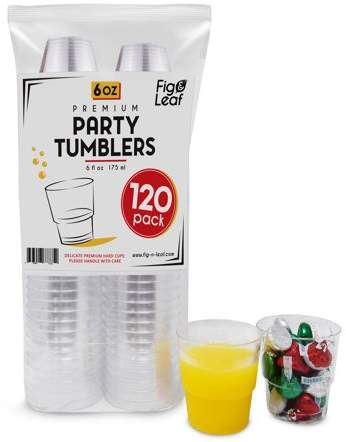 Fig and Leaf (360 Pack) Premium Hard Plastic 6 OZ Party Cups l Old Fashioned Tumblers 6-Ounce l Crystal Clear Sturdy Disposable Tumbler Glasses Reusable Durable Cup l Top Choice for Catering Wedding Birthday Event