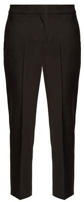 Alexander McQueen High Rise Slim Leg Cropped Wool Trousers - Womens - Black