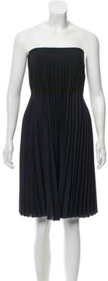 Calvin Klein Collection Wool Pleated Dress green Wool Pleated Dress