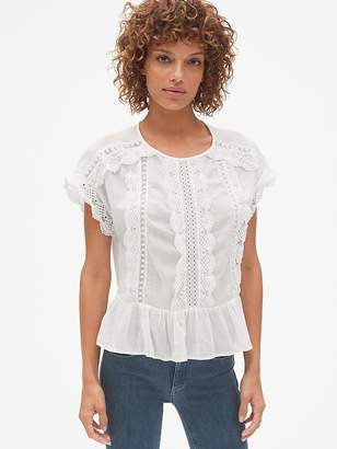 Gap Short Sleeve Tiered Lace-Trim Blouse