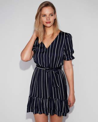 Express Striped V-Neck Sash Tie Ruffle Hem Dress