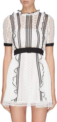 Self-Portrait Self Portrait Belted frill contrast seam lace dress