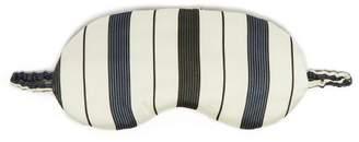 Asceno - Striped Silk Satin Eye Mask - Womens - White Stripe