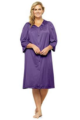 Exquisite Form Plus Size Women's Button Front Knee Length Robe 10807,1XL