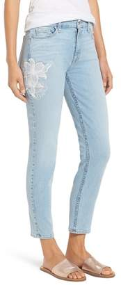 Jen7 Jen 7 Embroidered Stretch Sklnny Ankle Jeans