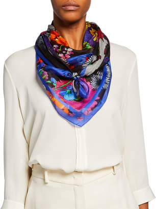 Neiman Marcus Dark Floral Silk Scarf