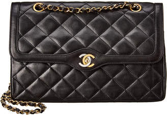 Chanel Black Quilted Lambskin Leather Medium Double Flap Bag