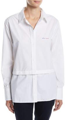 Current/Elliott Edie Embroidered Button-Front Shirt w/ Snap-Off Hem