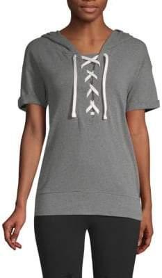 Lace-Up Short-Sleeve Hooded Sweatshirt