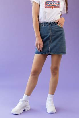Azalea Zip Front Vintage Wash Skirt