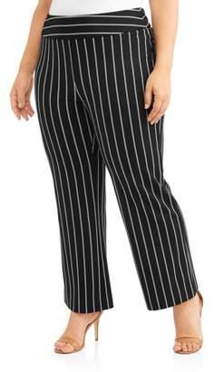 Lifestyle Attitudes Women's Plus Pinstripe Wide Leg Pull On Fashion Career Pant