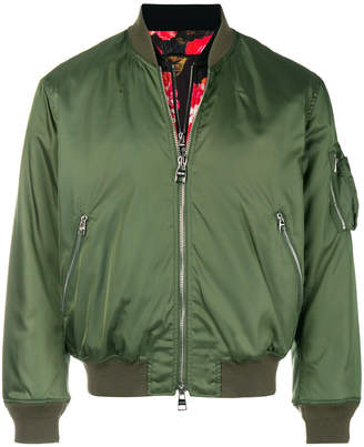 Alexander McQueen painted rose-bib bomber jacket