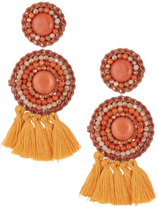 Panacea Round Beaded Coral Earrings f4tCT0gGXc